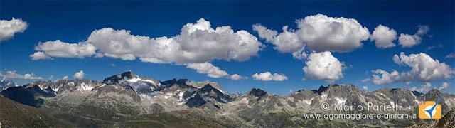 Panorama sulle alpi dal passo Orsirora