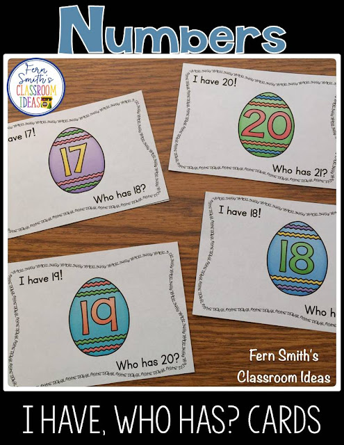 I Have, Who Has? Easter Eggs Numbers 1-25 Cards, Teacher Directions and a Teacher Answer Key. This I Have, Who Has? Resource Includes:  1 Teacher Direction Sheet  2 Teacher Answer Keys  25 Cards with Easter Egg Themed  Numbers in Numerical Order  25 Cards with Easter Egg Themed  Numbers in Mixed Order  Terrific for an Emergency Substitute Tub, Folder or Binder! at Fern Smith's Classroom Ideas TeacherspayTeachers Store.