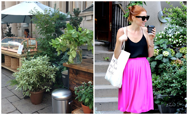 Summer City Street Style- Fuchsia Midi Skirt, running errands