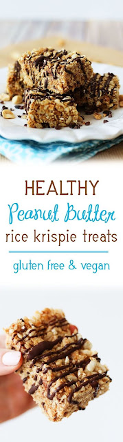 Healthy Peanut Butter Rice Krispie Treats | Gluten Free, Vegan, Marshmallow-Free