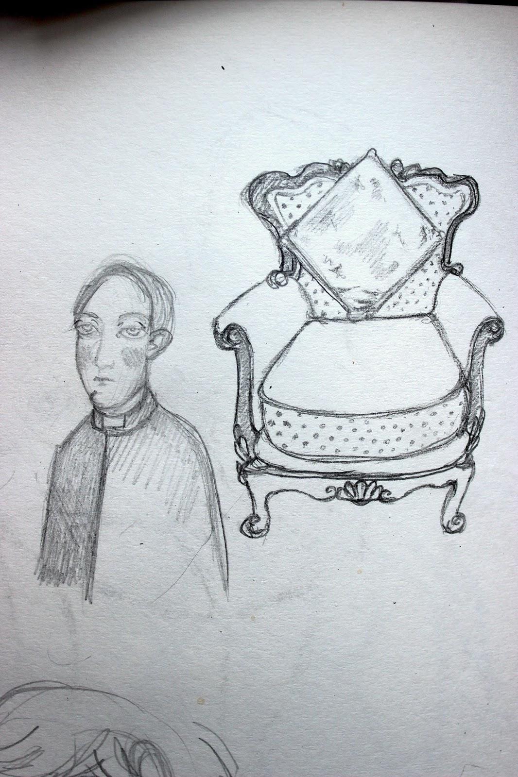 Sketchpad Notebook Sketch Drawing Pencil Priest Armchair