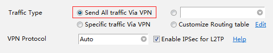 Choose all traffic via vpn