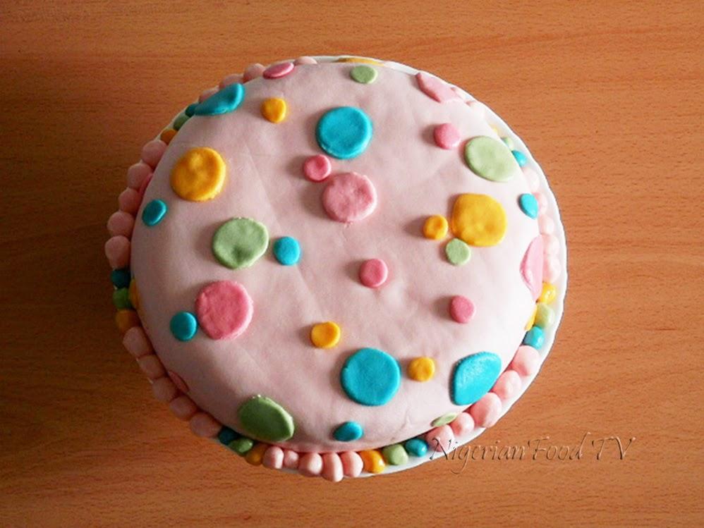 Multi-Colour Polka Dots Fondant Cake, polka dots fondant cake,nigerian cake recipe, nigerian cake, nigerian food tv