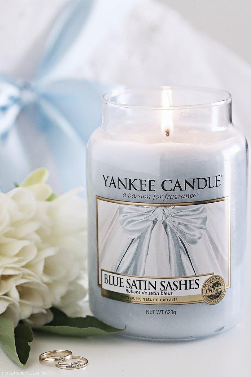 yc blue satin sashes świeca zapachowa