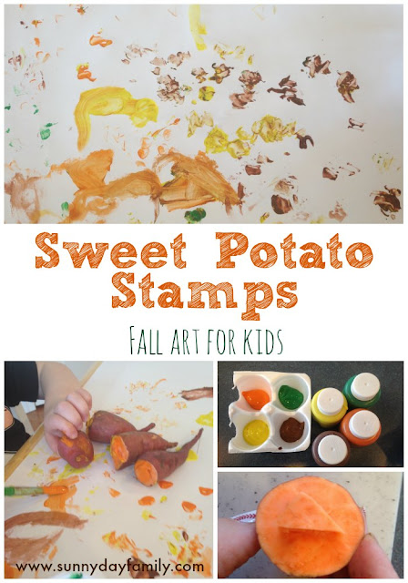 Make stamps for kids fall art projects from sweet potatoes! A fun Fall craft for kids.