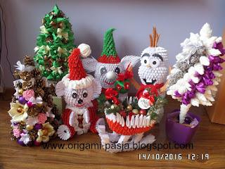 ozdoby, świeta, origami, modułowe, 3d, rękozieło, prezenty, święta 2016r., czerwony, biały, miś, choinka, szyszka, sanie, mikołaj,