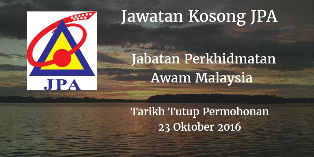 Jawatan Kosong JPA 23 Oktober 2016