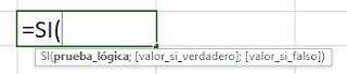 Función SI Excel Sintaxis