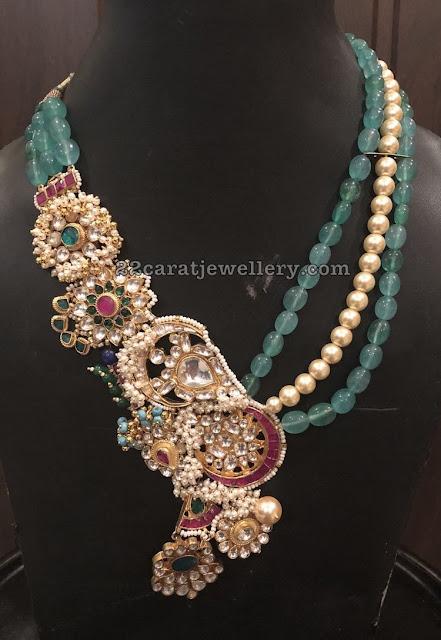 Emerald Beads Set with Kundan Flowers