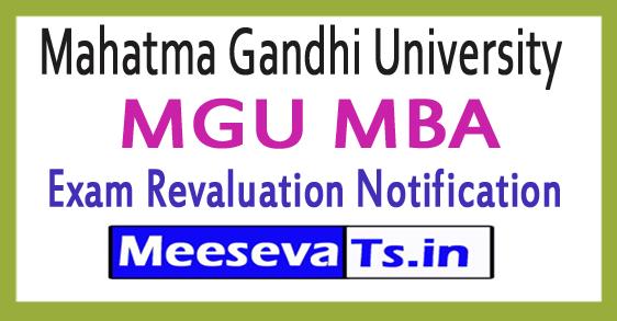 Mahatma Gandhi University MGU MBA Revaluation Notification 2018