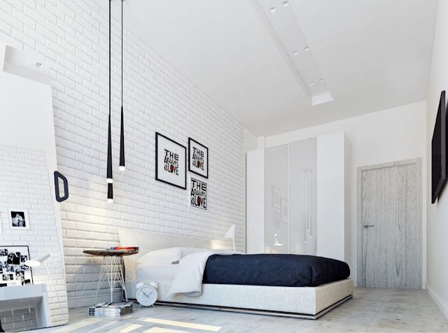 Concrete floors, bold typography prints, black pendant lighting, match for the bedroom decor