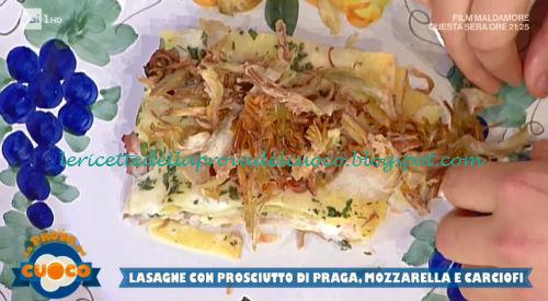 Lasagne con prosciutto Praga mozzarella e carciofi ricetta Marco Bottega da Prova del Cuoco