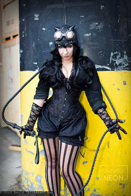 Steampunk Catwoman (lace gloves, goggles, whip, headpiece, stockings, corset)
