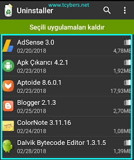 android toplu uygulama kaldırma