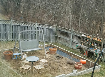 a fenced backyard full of weeds and mismatched furniture