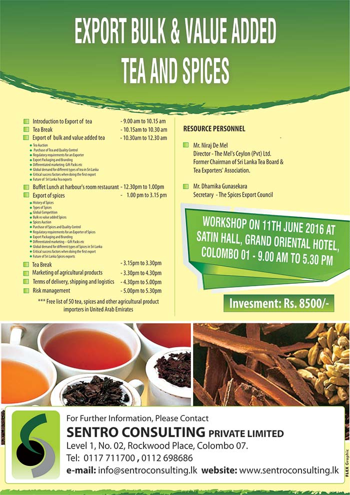 Export bulk & value added tea and spices sentro consulting (pvt) ltd
