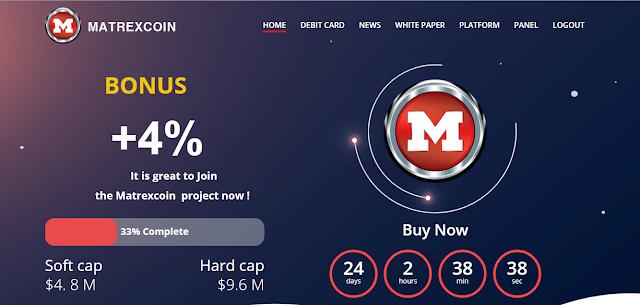 شرح العملة الرقمية matrexcoin +الحصول على بطاقة مصرفية ربح خيالي
