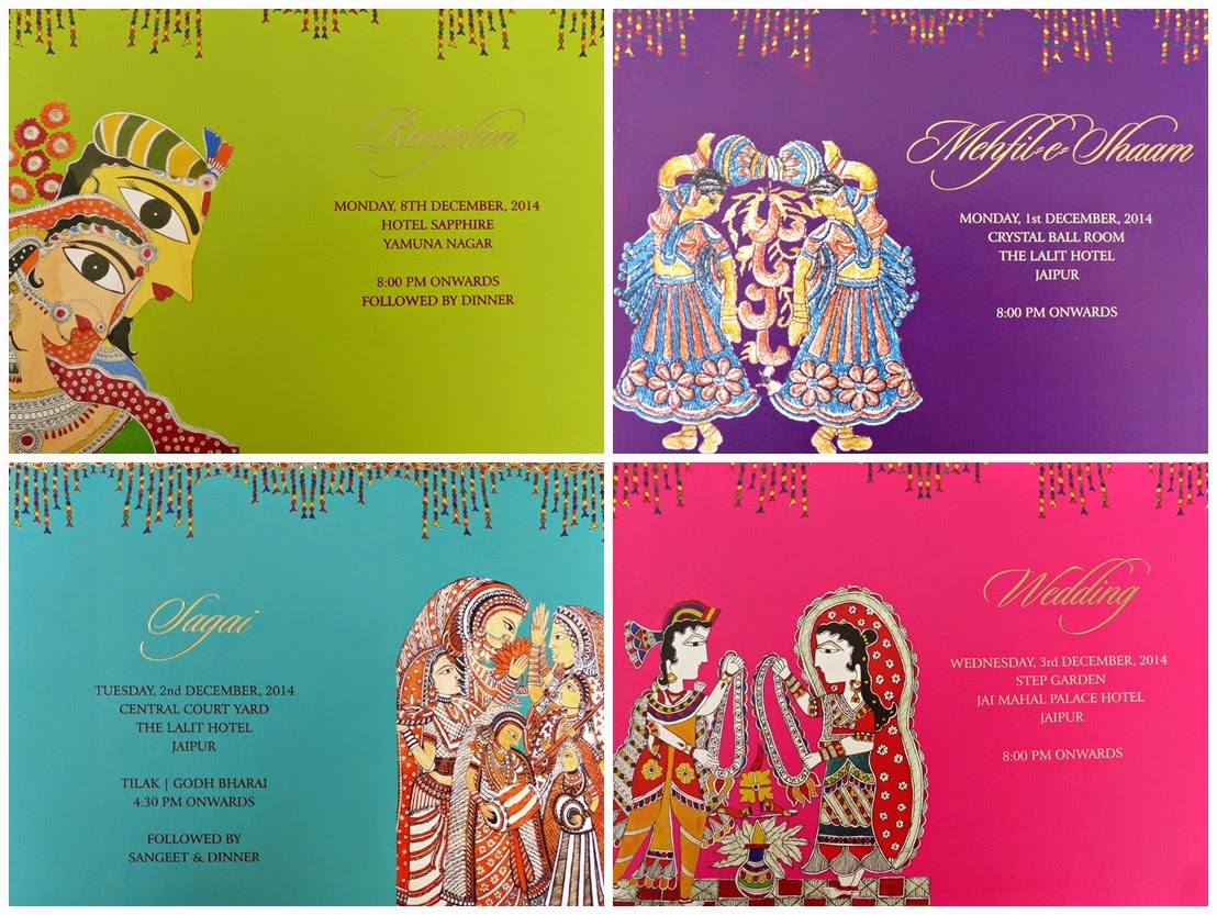 Invitations for Indian wedding celebrations