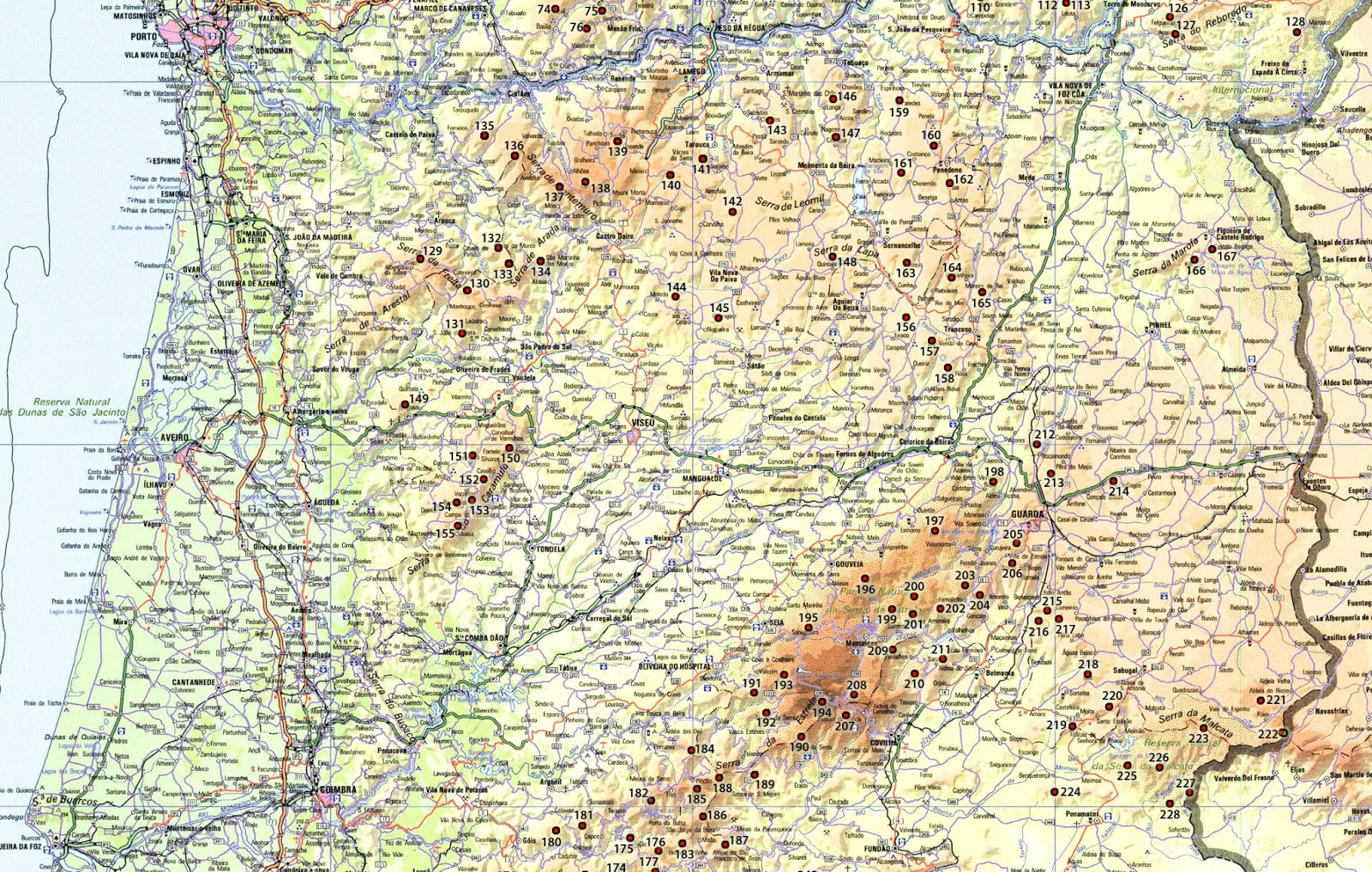 mapa portugal norte centro Mapa da localização das montanhas | Garcias   Montanhas de Portugal mapa portugal norte centro