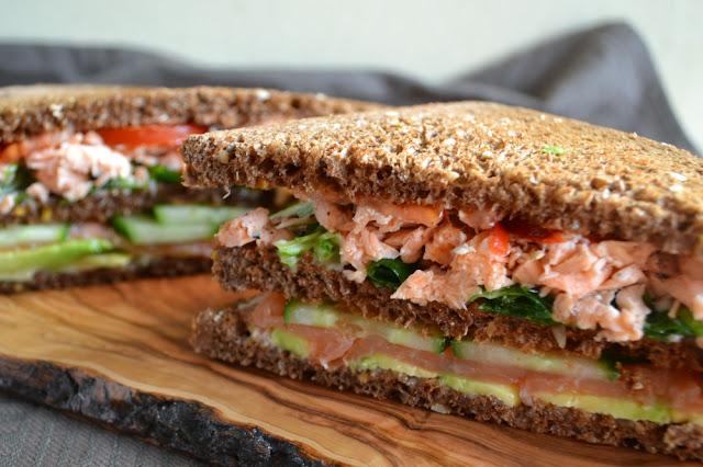 club sandwich met 2 soorten zalm