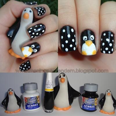 Nailart de Pinguim