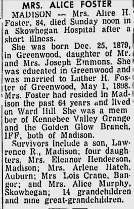 Obituary of Alice Emmons Foster  sister of Walter Scott Emmons