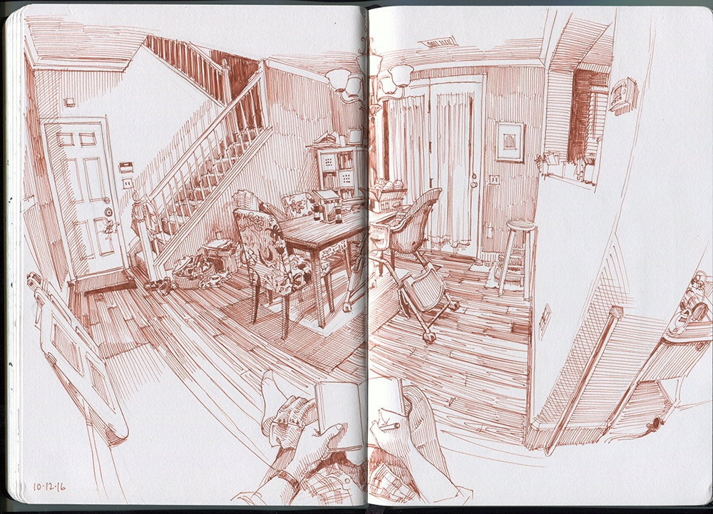 09-Dining-Room-Paul-Heaston-Urban-Sketcher-in-Moleskine-Drawings-www-designstack-co