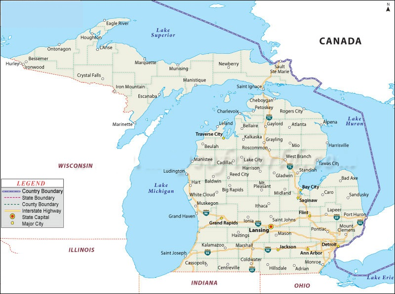 New Buffalo Michigan Map.Map Of Michigan State Map Of Usa