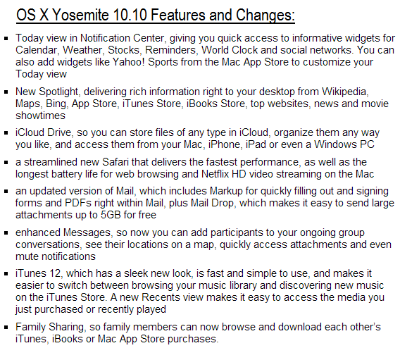 OS X Yosemite 10.10 Features and Changes