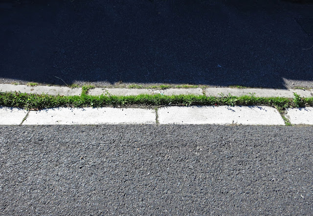 Strip of grass where the kerb dips to allow cars across the pavement