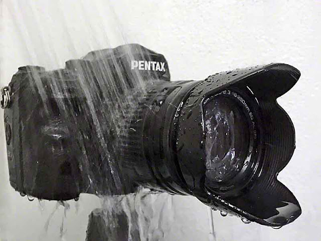 Pentax and lens on a tripod in the shower