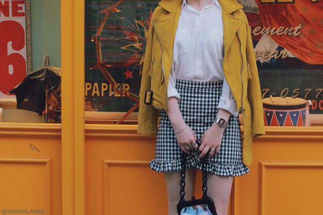 Japanese Fashion Blogger,MizuhoK,20180428OOTD,Chicwish=yellow biker jacket,gingham skirt shorts,Casselini=purple clear bag,Tutuanna=blue tulle socks,GUESS=silver heels,GU=white shirt,Casio=silver watch