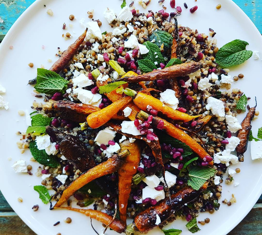 Heirloom Carrot Salad With Mixed Grains And Pomegranate Love Me