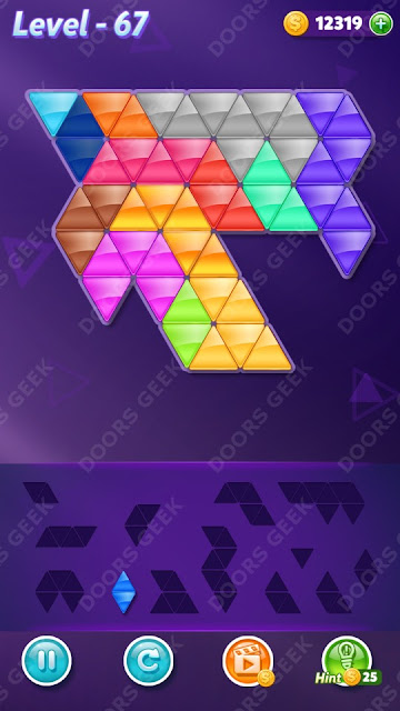 Block! Triangle Puzzle Champion Level 67 Solution, Cheats, Walkthrough for Android, iPhone, iPad and iPod