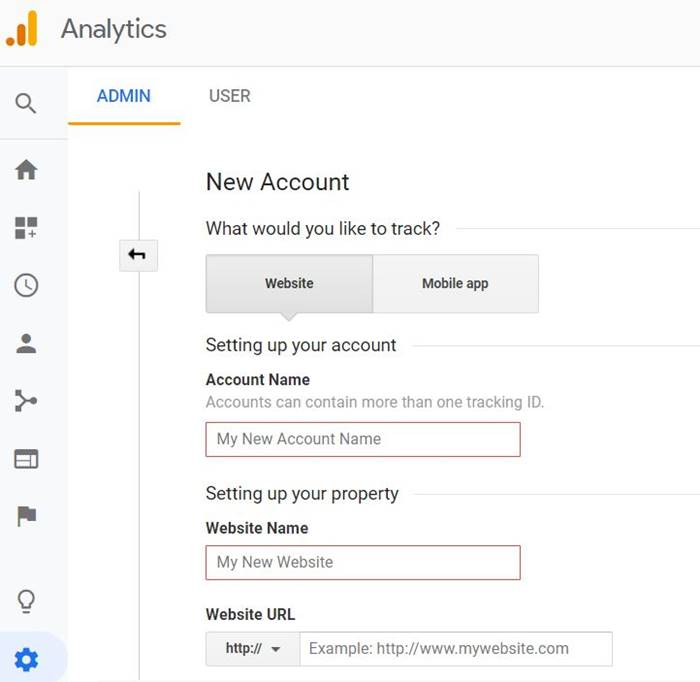 New account google analytic