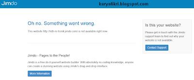 contoh tampilan situs yang sudah dibekukan jimdo (karyafikri.blogspot.com)