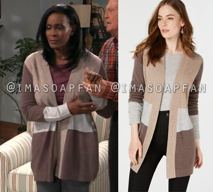 Yvonne Godfry, Janet Hubert, Brown and Grey Colorblock Cashmere Cardigan, General Hospital, GH