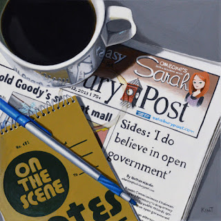 photrealistic acrylic painting of a cup of coffee reporter's notebook pen and newspaper by artist kim testone