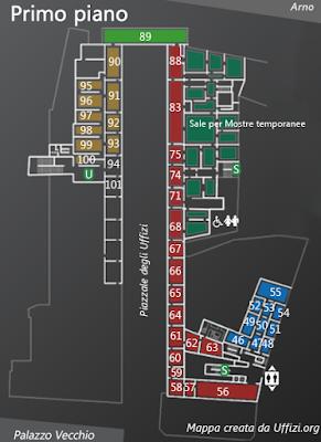 Mappa Primo Piano Galleria degli Uffizi