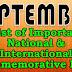 SEPTEMBER 2018 - List of Important National and International Commemorative Days (September Month)