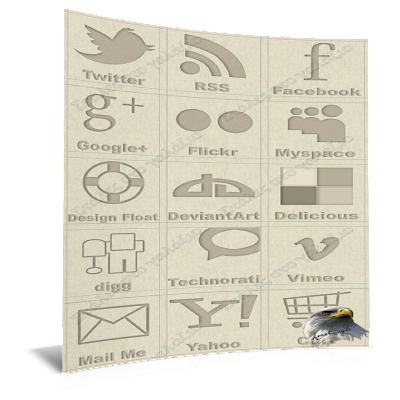 Brown Social Icons Set, Icons, Social Bookmarks Icons