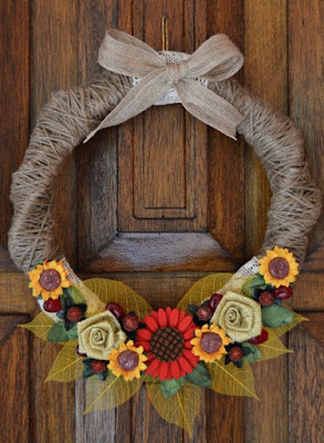Make this country fall wreath with sunflowers