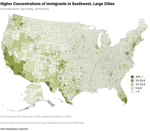 Higher concentrations of immigrants in southwest, large cities