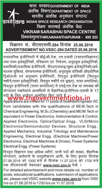 ISRO - VSSC - Vikram Sarabhai Space Centre (VSSC) Trivandrum Recruitment of Scientist / Engineer SC Posts