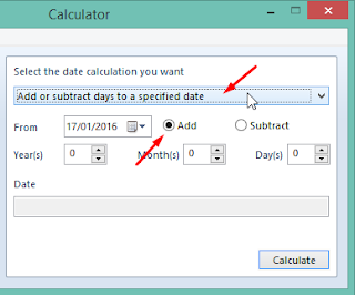 pilih add or substract days to a specified date