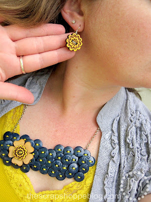button bib necklace with matching button earrings