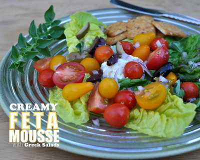 Creamy Feta Mousse with Greek Salads, another summer Meal Prep idea ♥ AVeggieVenture.com.