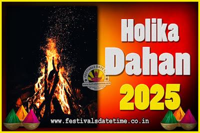 2025 Holika Dahan Puja Date & Time, 2025 Holika Dahan Calendar