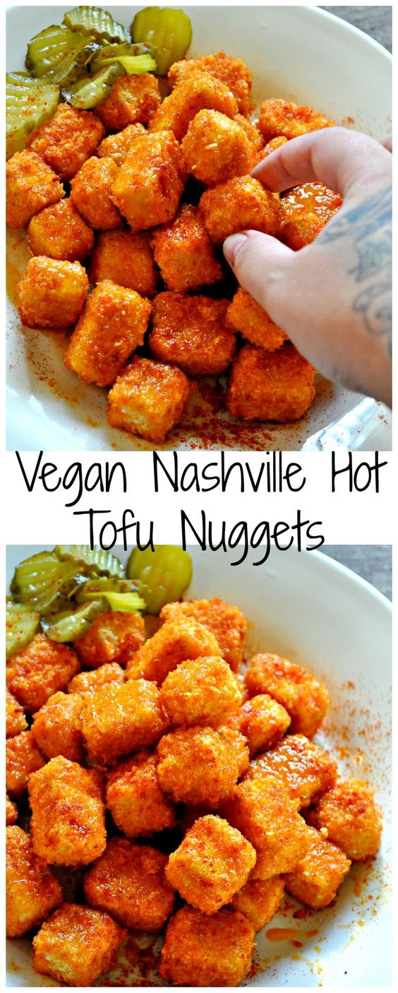 Vegan Nashville Hot Tofu Nuggets #VEGETARIAN #MAINCOURSE