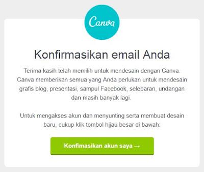 Konfirmasi Email Penaftaran Canva